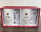 Tea for two Anniversary mugs 50th, 25th, or just anniversary