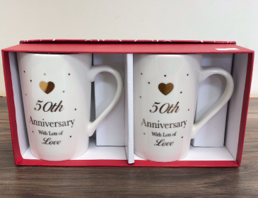Tea of love for two 50th Anniversary mugs