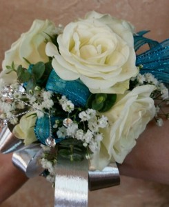 Teal and Silver Wristlet Corsage