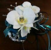 Teal and White Orchid Wristlet Corsage