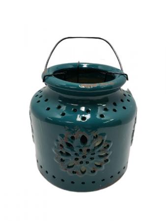 Teal Ceramic Candle Holder - Short
