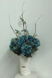 Teal hydrangea in birch container Silk Arrangement