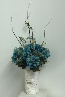 Teal hydrangea in birch container Silk Arrangement