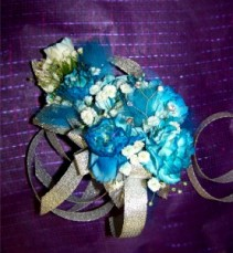 Teal Mini Carnations  Corsage