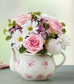 Teapot Full of Blooms™ Arrangement