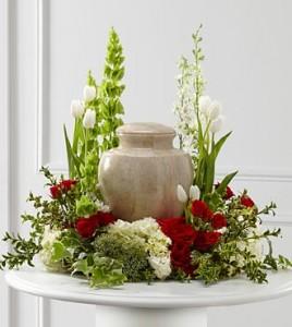 TEARS OF COMFORT URN SPRAY Funeral Flowers in Riverside, CA | Willow Branch Florist of Riverside