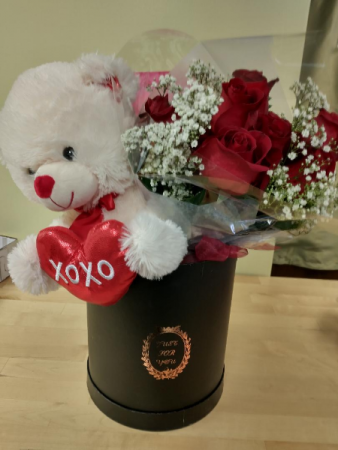 Tedddy,chocolates,and 12 roses in just for you hat box