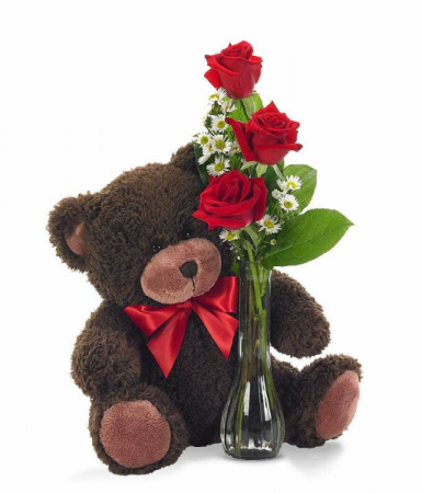 TEDDY BEAR AND RED ROSES Colors vary for Teddy Bear