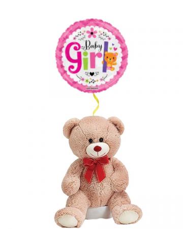 Teddy Bear for Baby Girl with Mylar