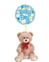 Teddy Bear for Baby Boy with Mylar