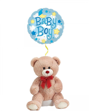 Teddy Bear for Baby Boy with Mylar  in Coral Springs, FL | DARBY'S FLORIST