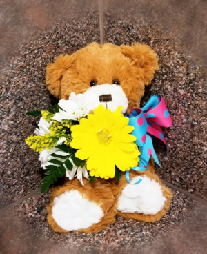 Teddy Bear Holding Fresh Flower Plush/Flowers in Wichita, KS | Via Christi Flower & Gift Shop
