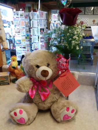 teddy bear love bear/ single rose bud vase