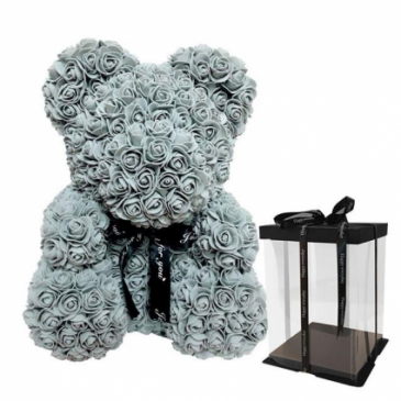 "TEDDY BEAR MADE OF ROSES 14"" GREY"