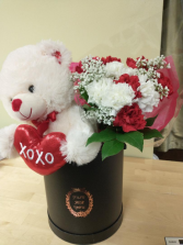 Teddy ,chocolates, and 12 carnations in a just for you hatbox