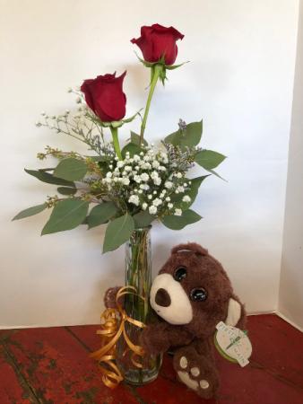 Teddy Love vased with plush