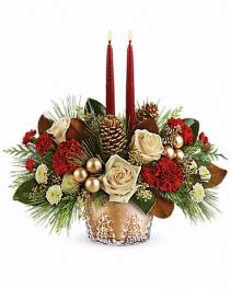 Telaflora Winter Pines Centerpiece Candle Centerpiece