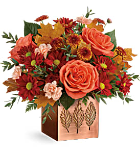 Teleflora Copper Petals Fresh Flowers in a Keepsake Container in Auburndale, FL | The House of Flowers
