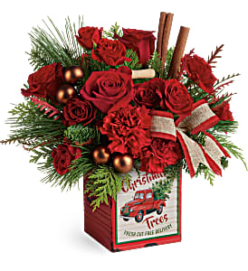Teleflora Merry Vintage Tin Christmas