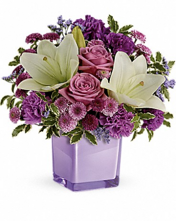 teleflora pleasing purple cube everyday