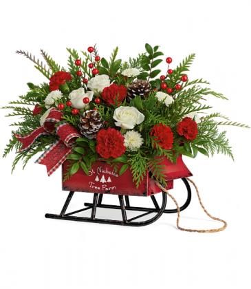 Teleflora Sleigh Bells Bouquet Keepsake arrangement
