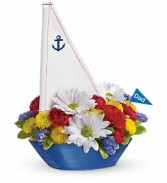 Teleflora'a Anchor's Aweight Bouquet Keepsake Sail Boat