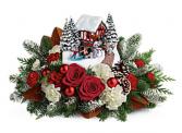 Teleflora's 2018 Thomas Kincade Snowfall Dreams Christmas Fresh Arrangement
