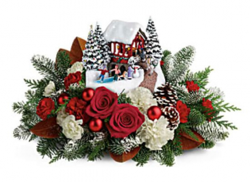 Teleflora's 2018 Thomas Kinkade Snowfall Dreams Christmas Fresh Arrangement