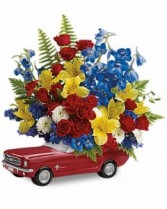 Teleflora's '65 Ford Mustang Bouquet Fresh Arrangement