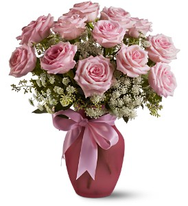 Teleflora S A Dozen Pink Roses And Lace Vased Arrangement In Auburndale Fl The House Of Flowers