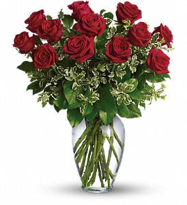 Teleflora's Always On My Mind Dozen Roses Vased Arrangement