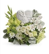Teleflora's Hearts in Heaven Fresh mixed flower arrangement with ceramic Angel wings