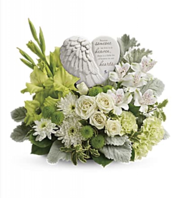 Teleflora's Hearts in Heaven Fresh mixed flower arrangement with ceramic Angel wings