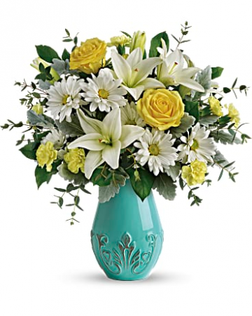 Teleflora's Aqua Dream Bouquet Fresh Mixed Flower Arrangement