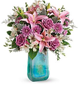 Teleflora's Art Glass Treasure Fresh Flowers in Auburndale, FL | The House of Flowers