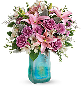 Teleflora's Art Glass Treasure Fresh Flowers in a Keepsake Vase