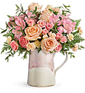 Teleflora's Artisanal Blush Bouquet Fresh Arrangement in a Keepsake Container