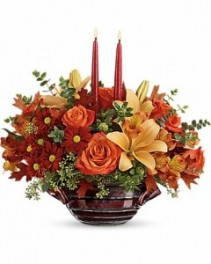 Fall* Autumn Gathering CenterpieceT16T100A Fall Flowers