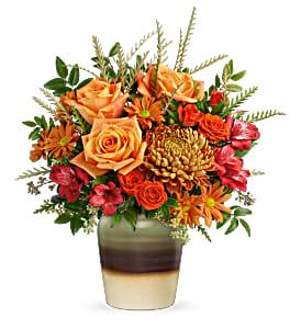 Teleflora's Autumn Gift Bouquet Fresh Arrangement in a Keepsake Container