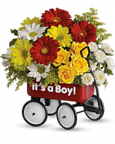 Teleflora's Baby Boy Wow Wagon  Flower arrangement