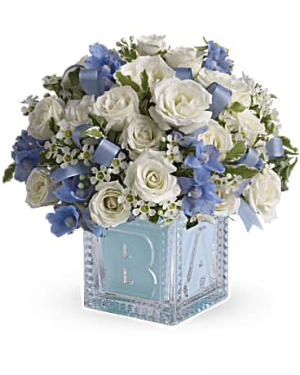 Teleflora's Baby's First Block -Blue  in Thibodaux, LA | BEAUTIFUL BLOOMS BY ASIA