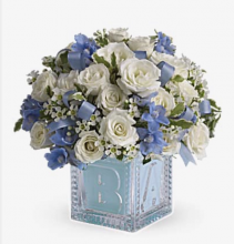 Teleflora's Baby's first block blue Fresh