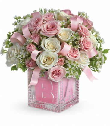 Teleflora's Baby's First Block Pink baby