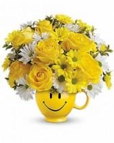 Teleflora's Be Happy® Bouquet with Roses Fresh Arrangement
