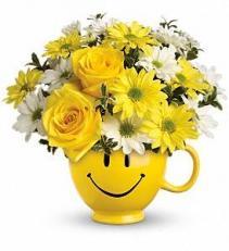 Teleflora's Be Happy® Bouquet with Roses VASE ARRANGEMENT