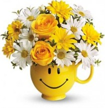 Teleflora's Be Happy Mug Everyday Floral Arrangment