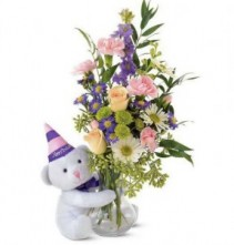 Teleflora's Bear Birthday Flower Arrangement