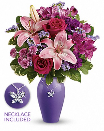 Teleflora's Beautiful Butterfly Fresh Arrangement w/necklace