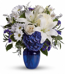 Teleflora's Beautiful in Blue Fresh Arrangement