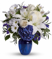 Teleflora's Beautiful in Blue Fresh Vase